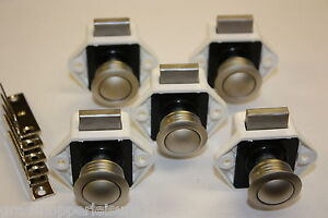 5 MINI NICKEL PUSH BUTTON CATCH caravan cupboard horsebox camper lock handle