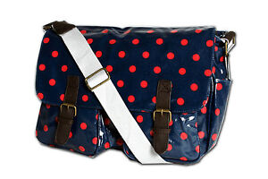 Ladies Polka Dot Oilcloth Messenger Cross Body School Satchel Changing Bag