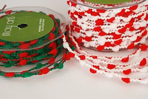1-MTR-MAY-ARTS-WIRED-POM-POM-TRIM-RIBBON-Red-White-or-Green-Red