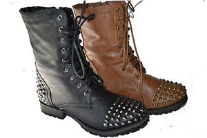 black womens studded spike lace up mid calf