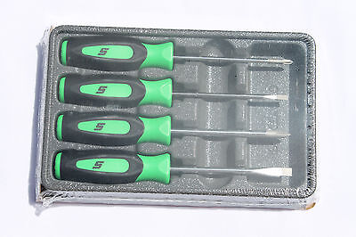 Snap On Tools Mini tip Green Screwdriver Set 4pc Soft Grip Handle Brand New