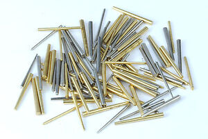 assorted pack of 100 brass and steel tapered pins taper pin clock repairs parts