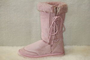 Ugg Boots Tall, Synthetic Wool, Lace Up, Size 6 Lady's, Colour Pink ON SPECIAL