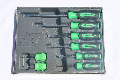Snap On Tools Screwdriver Set 8 Pc.Combination Soft Instinct Handle Green New