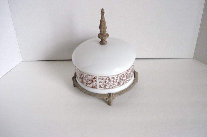 Simon & Company Porcelain White & Brown Metal Trinket Candy Dish Ornate