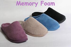 WOMENS-MEMORY-FOAM-CLOG-SLIPPERS-BLACK-BLUE-BEIGE-PINK-BRAND-NEW