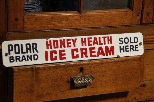 POLAR HONEY ICE CREAM porcelain sign door push advertising plate enamel DAIRY