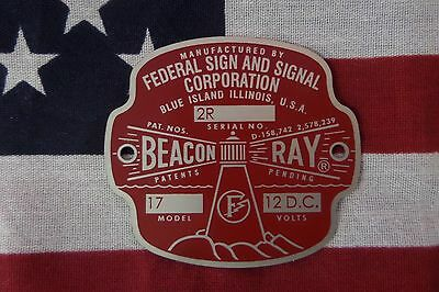 New Federal Sign And Signal Beacon Ray Replacement Badge With 2r Serial Number
