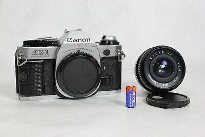 CANON AE-1 Program 35mm SLR Film Camera + Sakar 28mm f/2.8 Lens - Film Tested!