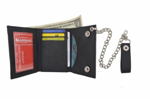 Black Men's Genuine Leather Trifold Wallet with Chain Biker