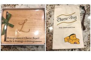 Monogrammed cheese board and cheese bag