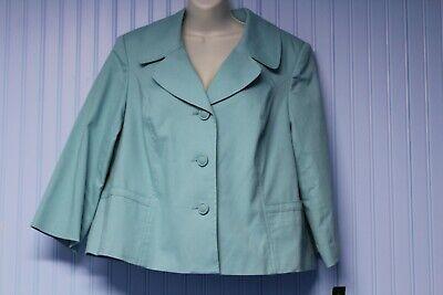 NWT Rafaella pale blue-green stretch cotton lined oxford jacket w/pockets 16W