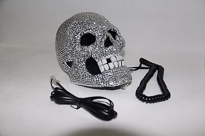 Totenkopf Telefon Deko Strass Designer Glitzer Skull Schädel Diamant Phone WOW