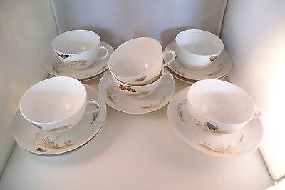 Vintage Haviland H & Co Limoges France Set of 6 Cups & 9 Saucers Butterfly