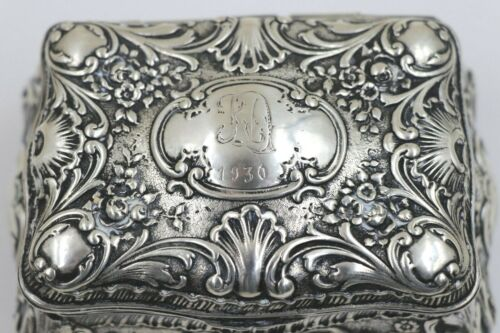 ANTIQUE 800 SILVER GERMAN REPOUSSE HINGED FOOTED BOX