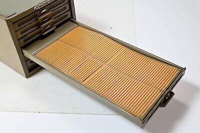 Vintage 1960s Remington Rand Kardex 6 Drawer Metal Cabinet Industrial Card File