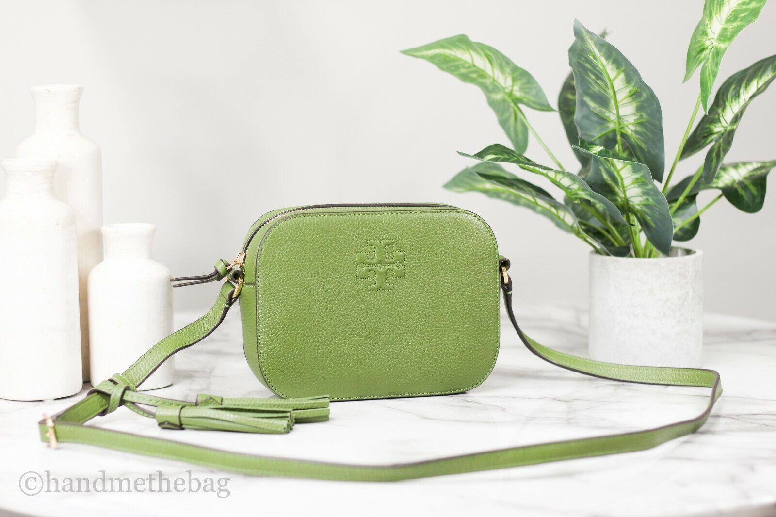 Tory Burch 67287 Thea Pebbled Leather Spinach Camera Crossbody Bag Handbag