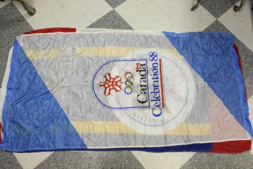 "Vintage 1988 Celebration Olympics Canada Flag 70"" x 34"" Hanging Decor"