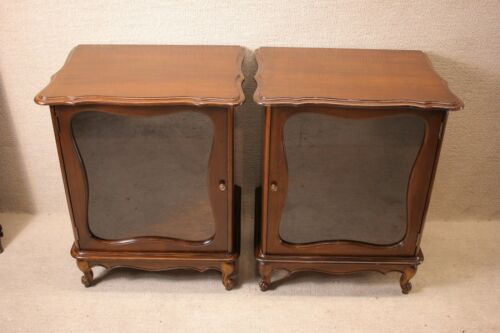 Pair of Walnut French Provincial Nightstands/Bedside Tables, circa 1920