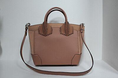 CHRISTIAN LOUBOUTIN Beige Leather Large Eloise Studded Calfskin Satchel Handbag