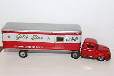 VERY NICE 1950'S TIN FRICTION POWERED GOLD STAR TRANSFER COMPANY DELIVERY TRUCK