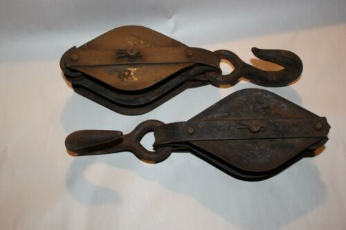 "PAIR OF ANTIQUE block & tackle / pulley pair 13"" block hooks metal wood #1  LOTL"
