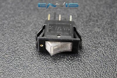 Rocker Switch On Off Mini Toggle White Led 12v 16 Amp Ec-1220wh