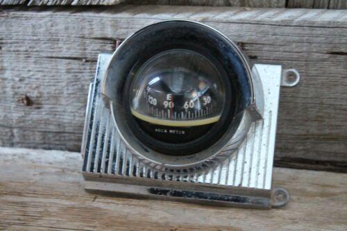 Vintage Aqua Meter Chrome Boat Compass Dash Mount Navigation Panel Nautical