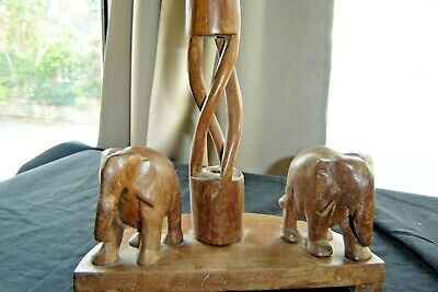VINTAGE WOODEN ELEPHANT SINGLE CANDLE HOLDER
