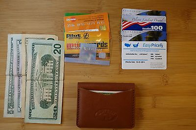 Front Fold Wallet (HANDMADE LEATHER BI-FOLD WALLET 3 pocket, small ,front pocket,money clip )
