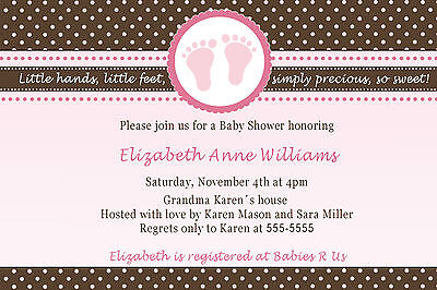 30 Baby Feet Invitations Brown Pink Polka Dots Baby Girl Shower Personalized A1 ()