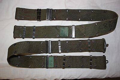 US Military Issue Vietnam Era Brass Buckel Pistol Belt LARGE