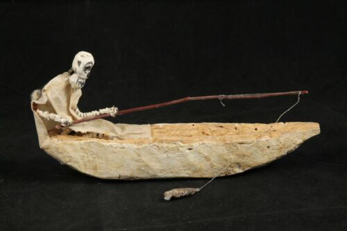 """Wood Skeleton Fishing Canoe Hand Carve/Paint Mexico Folk Art """"Day of the Dead"""""""