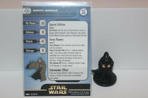 Star Wars Miniatures DARTH SIDIOUS #36 Clone Strike w/ Card mini RPG Legion