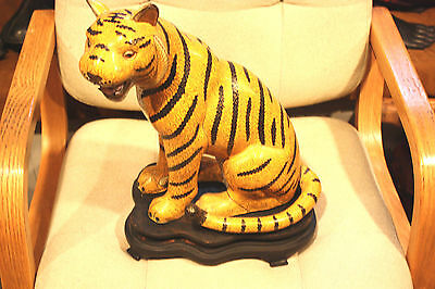 Antique Chinese Cloisonne Enamel Tiger Statue