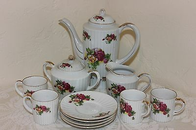 Vintage Hal-Sey Fifth Japan Porcelain Tea Set, 13 Pcs, Demitasse
