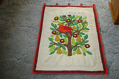 Hand Appliqued and Hand Quilted Partridge In Pear Tree Wall Hanging