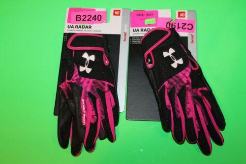 2 Under Armour UA Radar Womens MEDIUM Batting Gloves Leather Palm Brand New