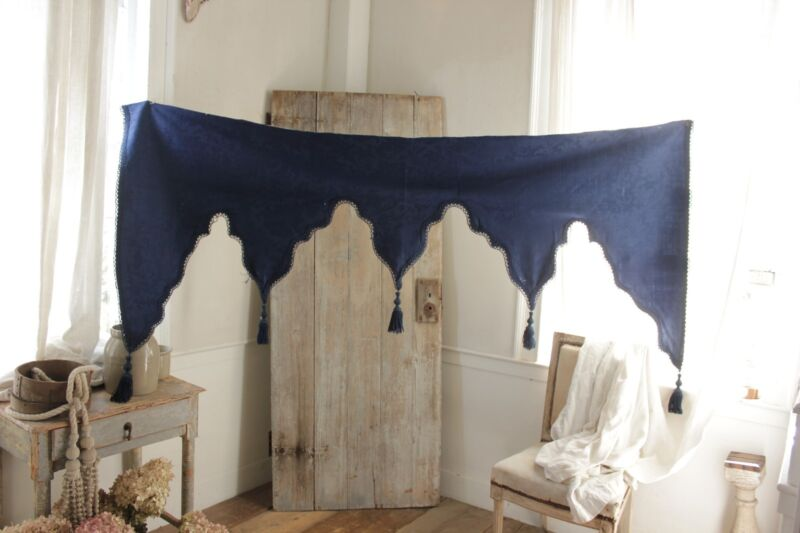 Valance Antique French damask lambrequin textile blue wool passementerie