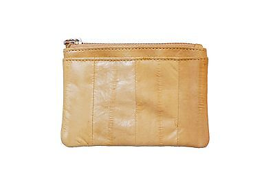Genuine Eel Skin Leather Small Rectangle Coin Card Purse/ Sand Beige (Dent Sale)