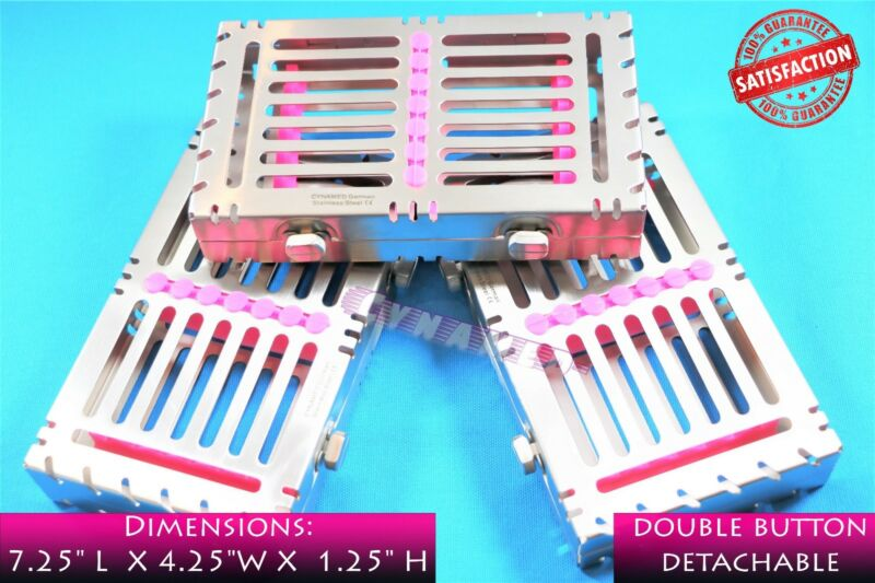 GERMAN DETACHABLE STERILIZATION RACK FOR 7 INSTRUMENTS W/ 2 BUTTONS PINK PREMIUM
