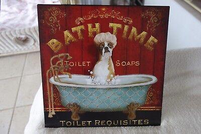 Schönes Blechschild Wandbild Bild Hund Boxer Bath Time Retro 30x30 cm Metall NEU