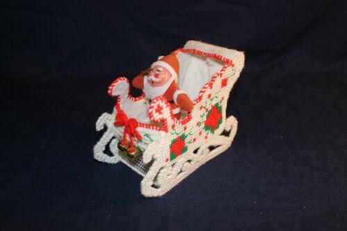 Handmade Vintage Needlepoint Plastic Flocked Santa Sleigh with Bells Rare!