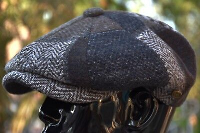 Thick Wool Herringbone Newsboy Cap, Patchwork Applejack Tweed Golf Hat Ns2760Brn