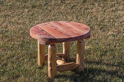 - Rustic Red Cedar Log Outdoor Round Side Table - Amish Made in the USA