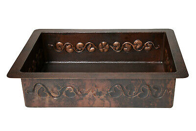 "33x22x9"" Drop-in Single Well Floral Design Hammered Copper Kitchen Sink"