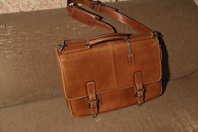 Large Coach Leather Brief Case. Graduation? Nice! Brown. Strap. No smoke odors.