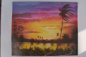 Jamaican fine artist Akiwali lithography art print title, Negril Sunset Jamaica