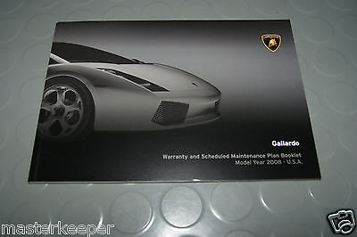 2008 Lamborghini Gallardo Coupe/Spyder Owners Warranty / Maintenance Manual