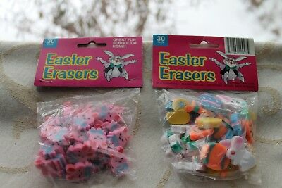 Set of 60 Easter Erasers in Fun Shapes & Colors Bunnies Ducks Eggs Carrots Party